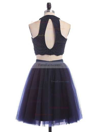 A-line Scoop Neck Short/Mini Tulle Prom Dresses with Beading #Favs020102465
