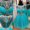 A-line Scoop Neck Tulle with Beading Short/Mini Girls Prom Dresses #Favs020102470