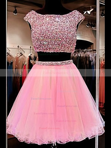 Princess Scoop Neck Tulle Short/Mini Crystal Detailing Homecoming Dresses #Favs020102546