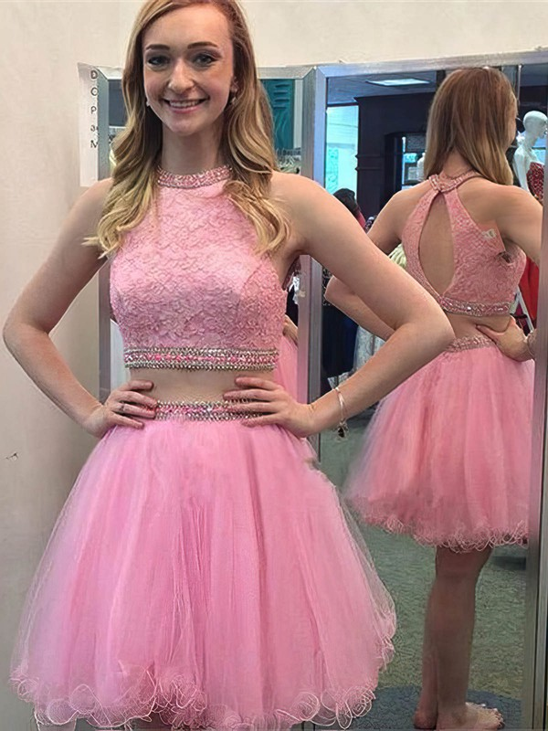 A-line Scoop Neck Short/Mini Tulle Prom Dresses with Lace Beading #Favs020102550