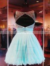 Stunning A-line Scoop Neck Tulle Short/Mini Beading Open Back Prom Dresses #Favs020102911