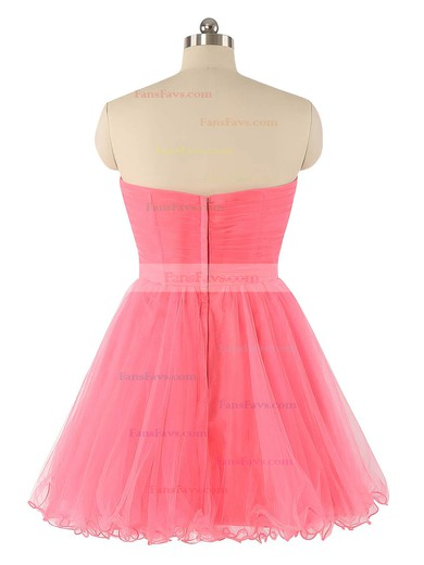 A-line Sweetheart Short/Mini Tulle Prom Dresses with Beading Ruffle #Favs020102932