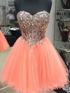 A-line Sweetheart Short/Mini Tulle Prom Dresses #Favs020103658