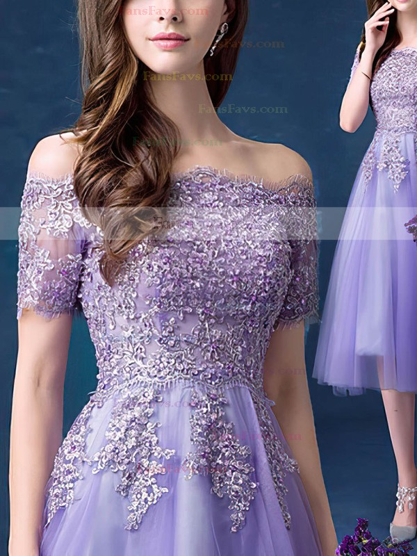 A-line Off-the-shoulder Tea-length Tulle Prom Dresses with Appliques Lace Beading #Favs020103701