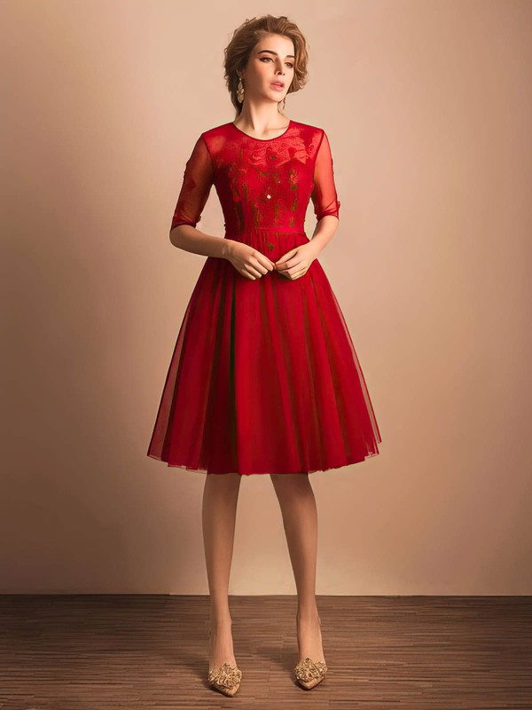 Online A-line Scoop Neck Tulle Knee-length Sashes / Ribbons Red 1/2 Sleeve Prom Dresses #Favs020103757