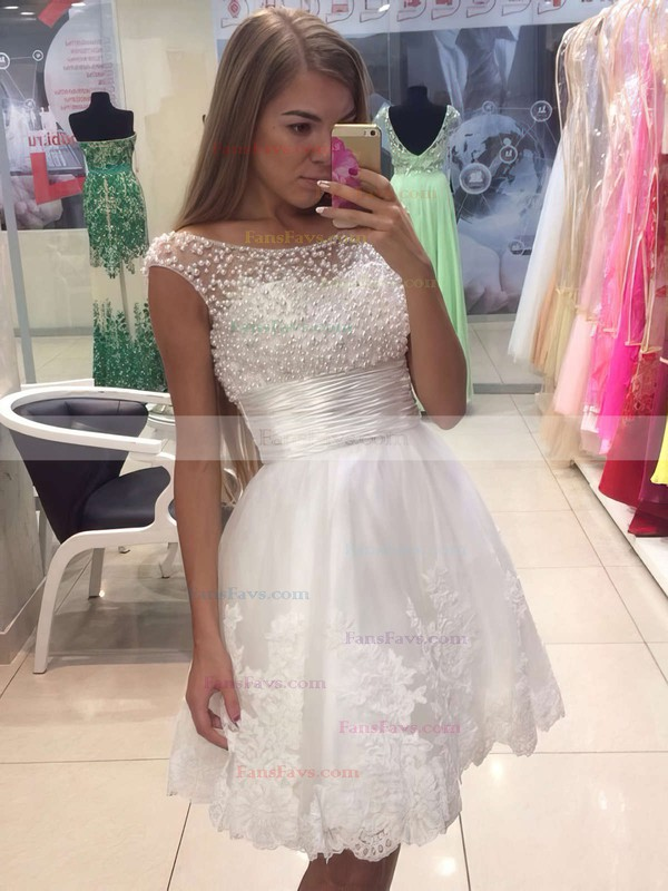 A-line Scoop Neck Tulle Short/Mini Appliques Lace Prom Dresses #Favs020104126