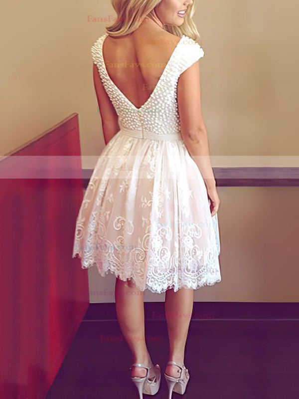 A-line Scoop Neck Short/Mini Tulle Prom Dresses with Pearl Detailing Appliques Lace #Favs020104127