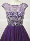 A-line Scoop Neck Short/Mini Tulle Prom Dresses with Beading #Favs020104131