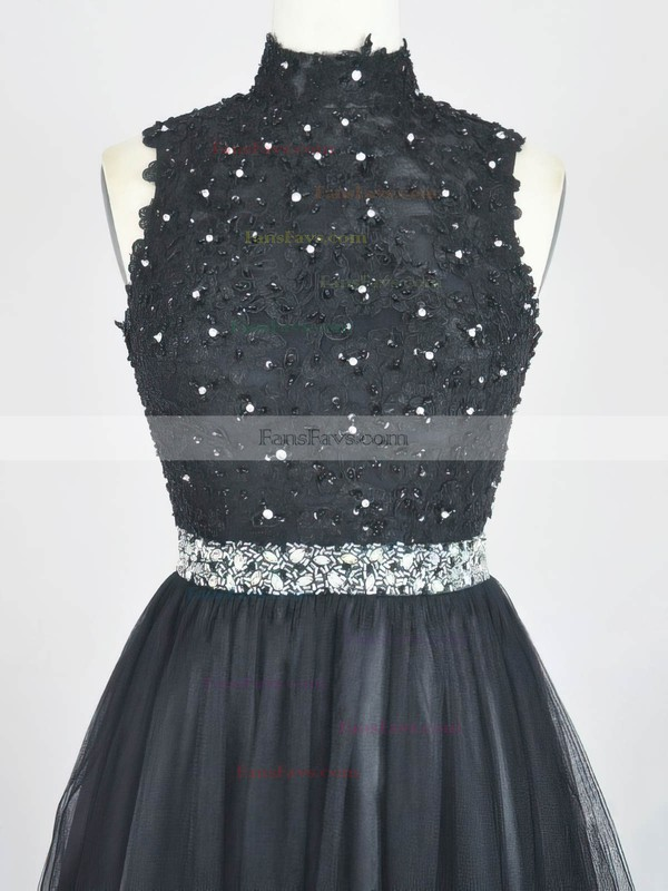 A-line High Neck Short/Mini Tulle Prom Dresses with Appliques Lace #Favs020104132