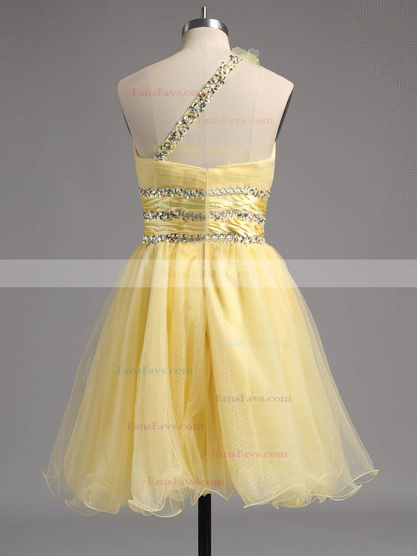 Empire One Shoulder Short/Mini Tulle Prom Dresses with Beading Sashes #Favs02013242