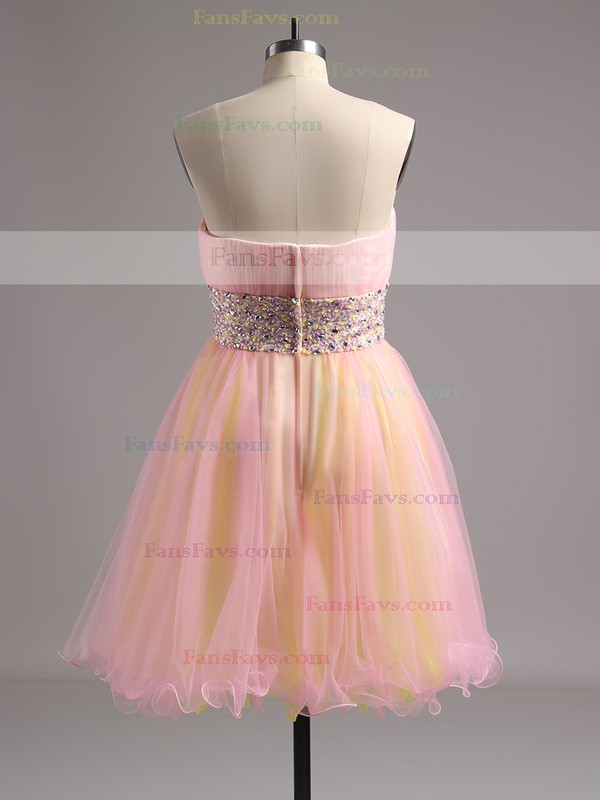 Ball Gown Strapless Short/Mini Tulle Prom Dresses with Beading Ruffle #Favs02014572
