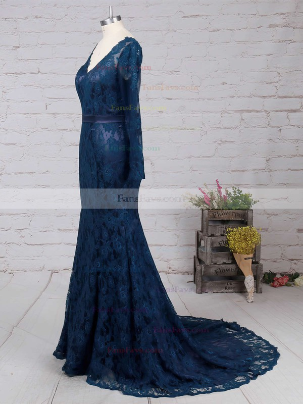 Dark Navy Lace V-neck Trumpet/Mermaid New Long Sleeves Prom Dress #Favs02019085