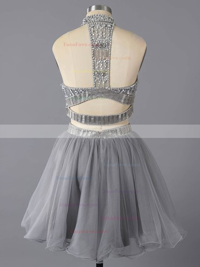 A-line High Neck Short/Mini Tulle Prom Dresses with Ruffle #Favs02016369
