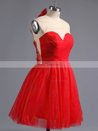 A-line Scoop Neck Short/Mini Tulle Prom Dresses with Appliques Lace Bow #Favs02016973