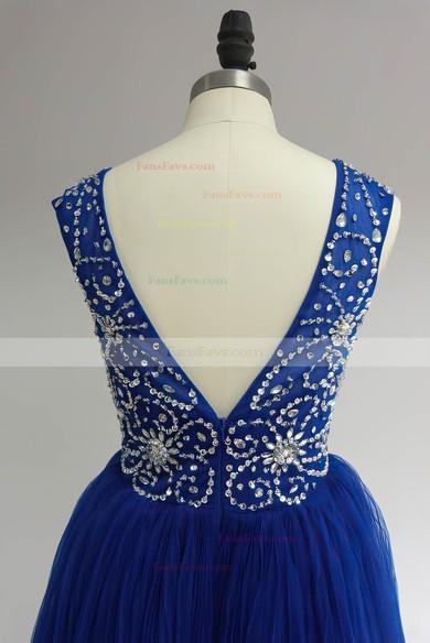 Scoop Neck Royal Blue Tulle Ruffles Beading Cute Short/Mini Prom Dress #Favs02017469