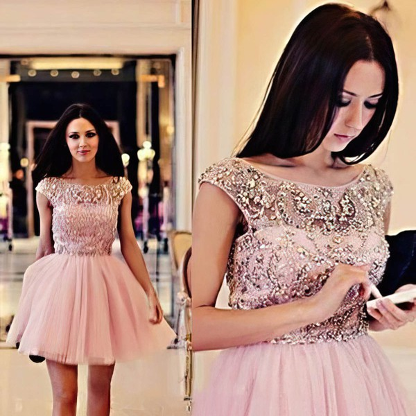 A-line Scoop Neck Short/Mini Tulle Prom Dresses with Beading #Favs02018794