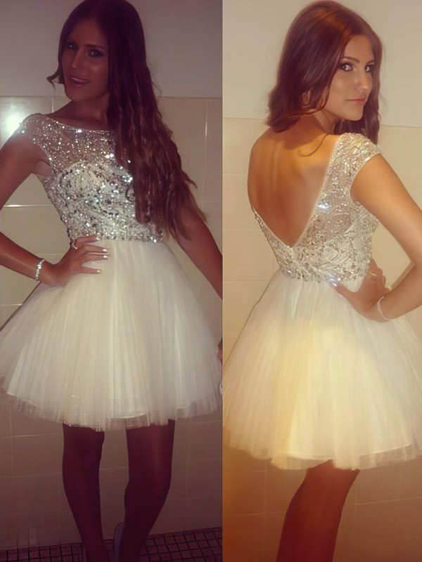 Short/Mini Open Back Ivory Tulle Scoop Neck Crystal Prom Dress #Favs02018983