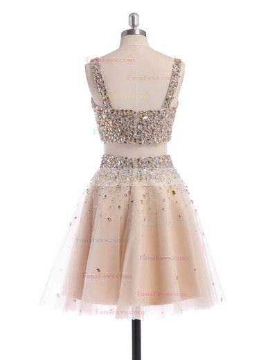 A-line Square Neckline Short/Mini Tulle Prom Dresses with Beading Ruffle #Favs02019194