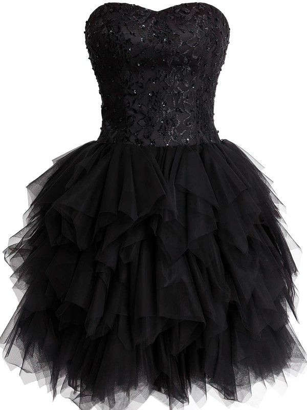 A-line Sweetheart Short/Mini Tulle Prom Dresses with Lace Beading #Favs02019798