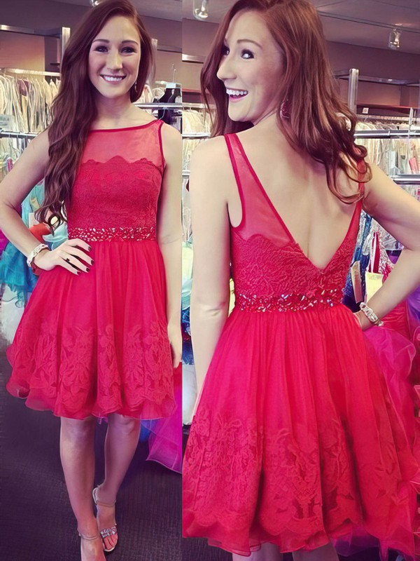 A-line Scoop Neck Short/Mini Tulle Prom Dresses with Appliques Lace Beading #Favs02019833