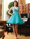 A-line Scoop Neck Short/Mini Tulle Prom Dresses with Appliques Lace #Favs02019971
