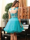 Scoop Neck with Beading and Applique Lace Tulle Elegant Blue Short Prom Dress #Favs02019971