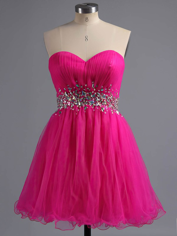 A-line Sweetheart Short/Mini Tulle Prom Dresses with Beading #Favs02041945
