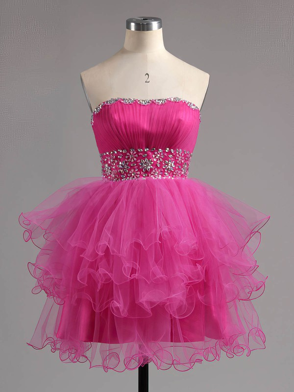 A-line Sweetheart Short/Mini Tulle Prom Dresses with Beading Ruffle #Favs02041947