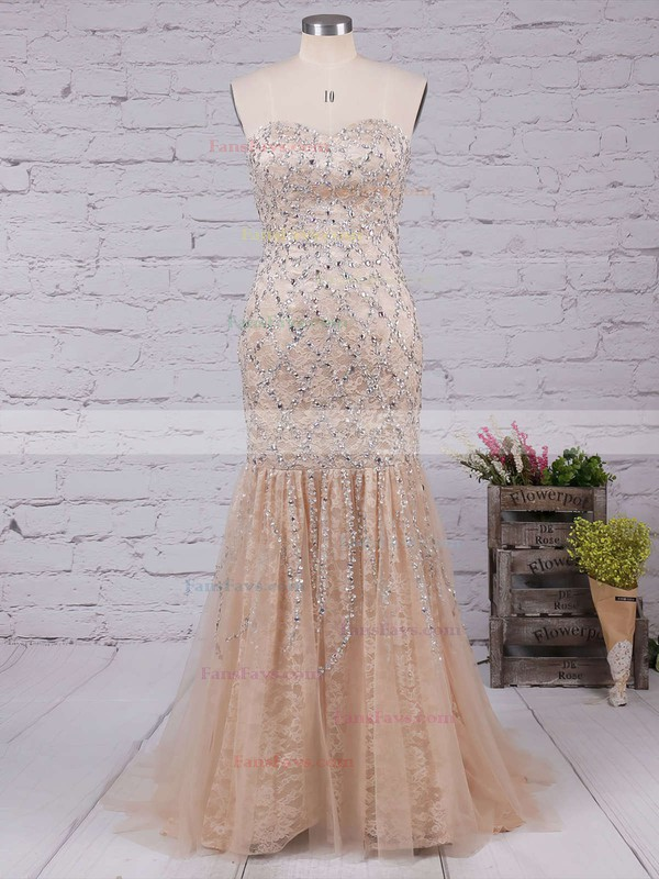 Trumpet/Mermaid Sweetheart Sweep Train Lace Tulle Prom Dresses with Beading #Favs02023522