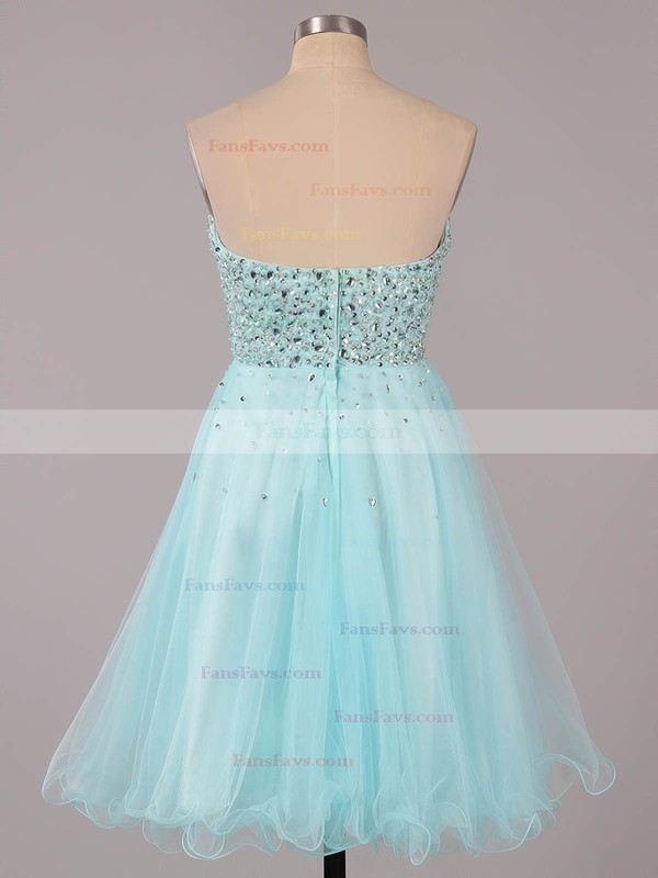 A-line Sweetheart Short/Mini Tulle Prom Dresses with Ruffle #Favs02051314