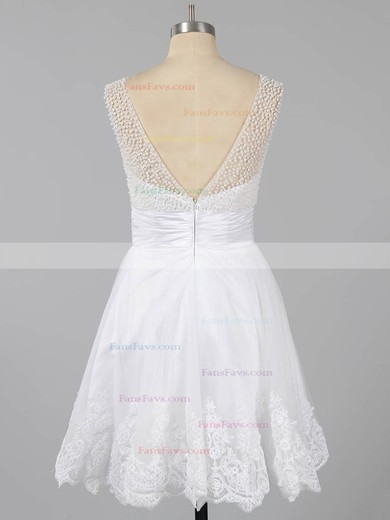 A-line Scoop Neck Tulle Short/Mini Beading Homecoming Dresses #Favs02051621