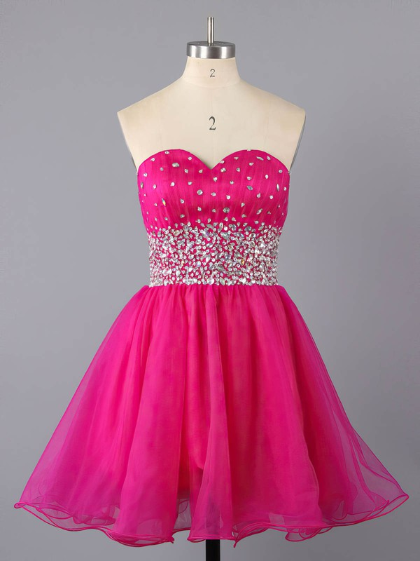 A-line Sweetheart Short/Mini Tulle Prom Dresses with Ruffle #Favs02111410