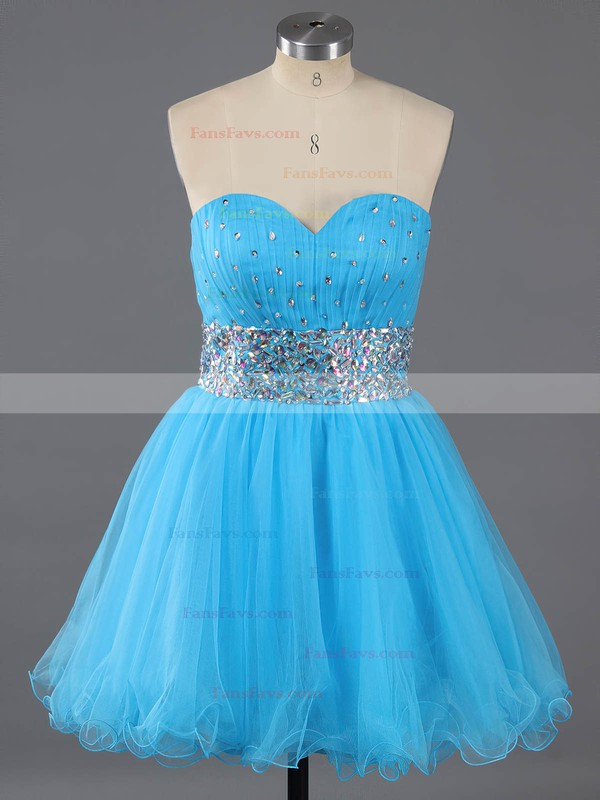 A-line Sweetheart Tulle Short/Mini Crystal Detailing Homecoming Dresses #Favs02111410