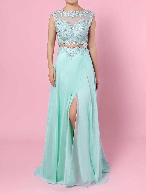 A-line Scoop Neck Chiffon Tulle Sweep Train Split Front Prom Dresses #Favs020105059