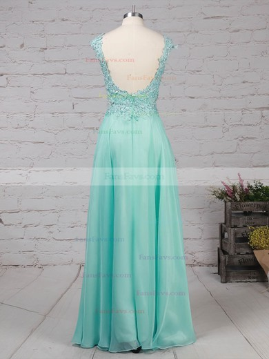 A-line Scoop Neck Chiffon Sweep Train Appliques Lace Prom Dresses #Favs020105059