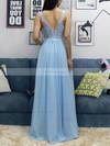 A-line V-neck Chiffon Tulle Floor-length Beading Prom Dresses #Favs020105038