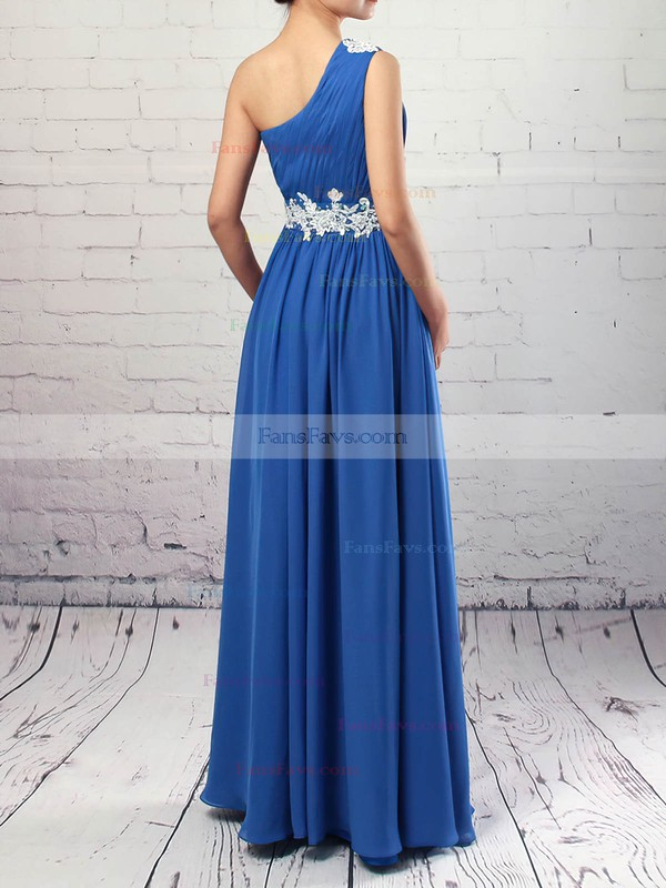 Empire One Shoulder Chiffon Floor-length Beading Prom Dresses #Favs020105040