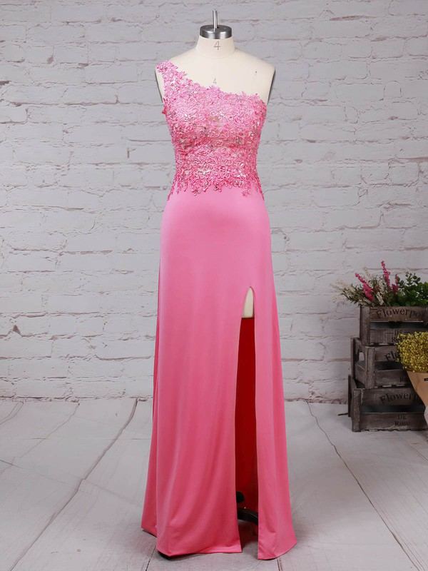 Sheath/Column One Shoulder Jersey Floor-length Beading Prom Dresses #Favs020105041