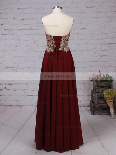 A-line Strapless Chiffon Floor-length Beading Prom Dresses #Favs020105046