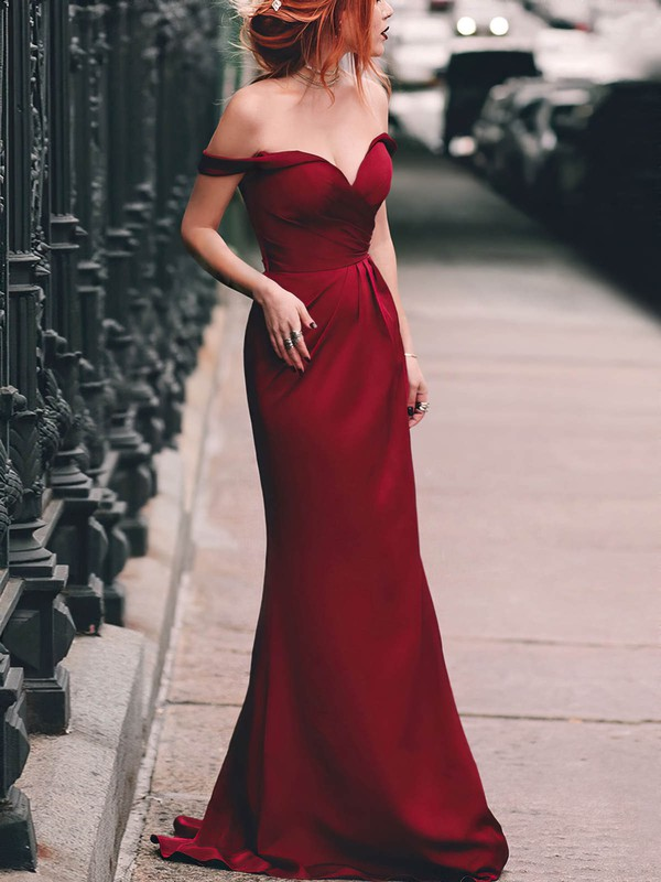 A-line Off-the-shoulder Silk-like Satin Floor-length Ruched Prom Dresses #Favs020105047