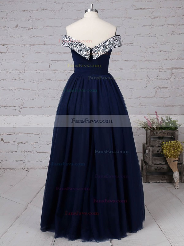 Princess Off-the-shoulder Tulle Floor-length Beading Prom Dresses #Favs020105051