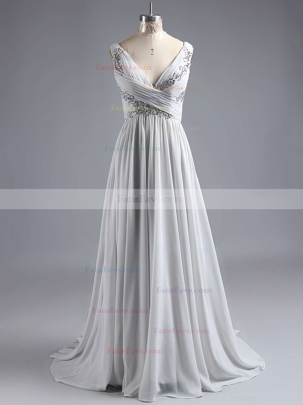 A-line V-neck Chiffon Floor-length Appliques Lace Prom Dresses #Favs020101225