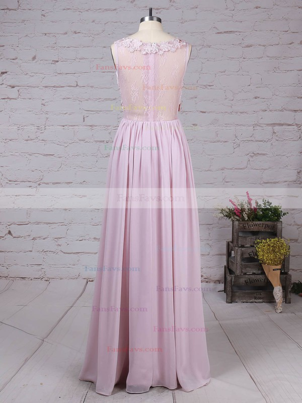 A-line Scoop Neck Lace Chiffon Floor-length Appliques Lace Prom Dresses #Favs020105054