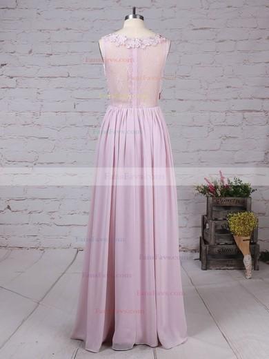 A-line Scoop Neck Lace Chiffon Floor-length Appliques Lace Prom Dresses #Favs020105054