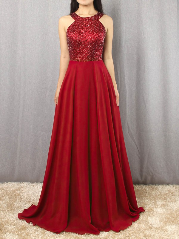 A-line Scoop Neck Chiffon Satin Sweep Train Beading Prom Dresses #Favs020105055