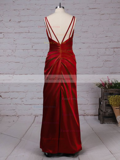 Sheath/Column V-neck Silk-like Satin Floor-length Split Front Prom Dresses #Favs020105058