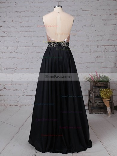 A-line Scoop Neck Satin Sequined Floor-length Beading Prom Dresses #Favs020105061
