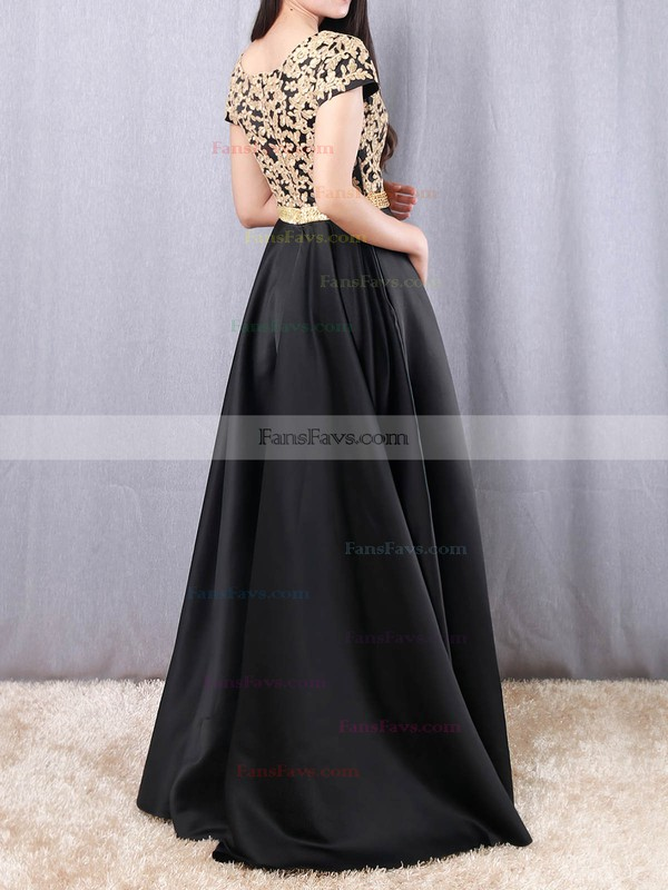 Princess V-neck Satin Floor-length Appliques Lace Prom Dresses #Favs020105063