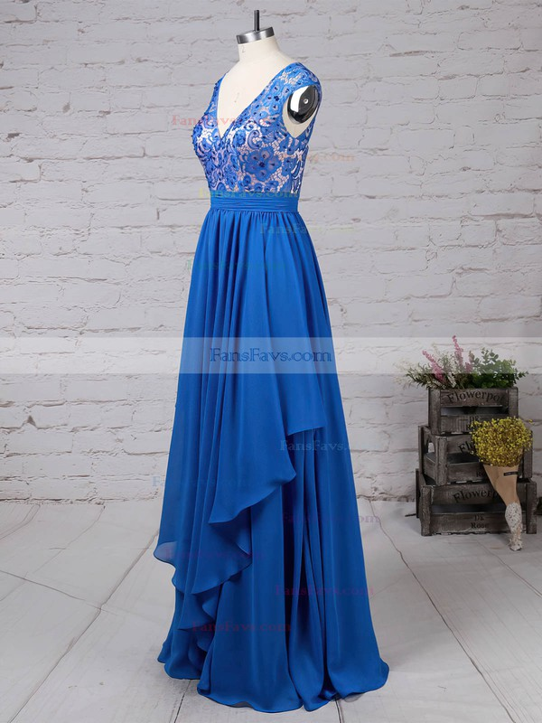 A-line V-neck Lace Chiffon Floor-length Beading Prom Dresses #Favs020105064