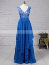 A-line V-neck Chiffon Floor-length Appliques Lace Prom Dresses #Favs020105064